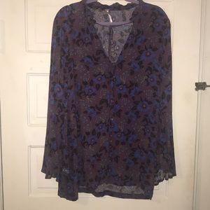 Button down purple & blue Free People Dress